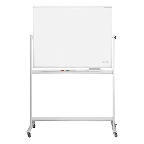 magnetoplan 1240489 Whiteboard mit Fahrgestell, speziallackierte Oberfläche, komplett mit Ablageschale für Marker und Zubehör, 1200 x 900 mm
