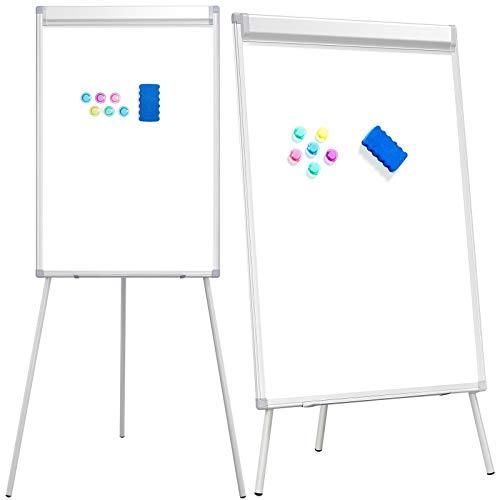 Yaheetech Flipchart Whiteboard mit Ständer magnetisch weiß für Büro verstellbar, 60 x 90 cm mit Alurahmen klappbar