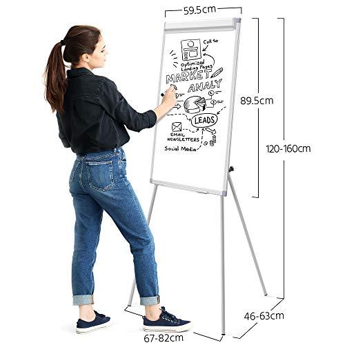 Yaheetech Flipchart Whiteboard mit Ständer magnetisch weiß für Büro verstellbar, 60 x 90 cm mit Alurahmen klappbar - 6