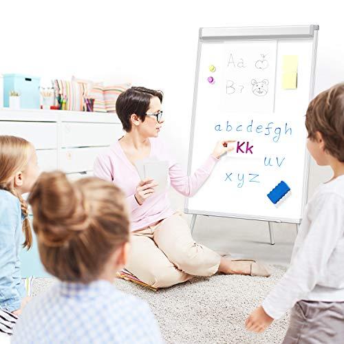 Yaheetech Flipchart Whiteboard mit Ständer magnetisch weiß für Büro verstellbar, 60 x 90 cm mit Alurahmen klappbar - 8