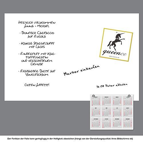 Queence Selbstklebende Magnetische Whiteboard Folie | Weißwandtafel | Whiteboard | Schreibtafel | Folie | Wandfolie | Multifunktionstafelfolie | Farbe: Weiß, Größe:100x200 cm - 2