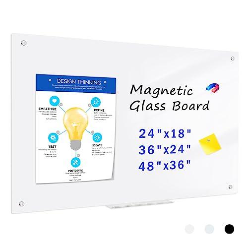 QUEENLINK Glas-Magnettafel – 90 x 60 cm, trocken abwischbar, mit Stiftablage, 3 Magnete, magnetisches Glas-Whiteboard für Notizen, Erinnerungen, Präsentationen, Ultra Weiß