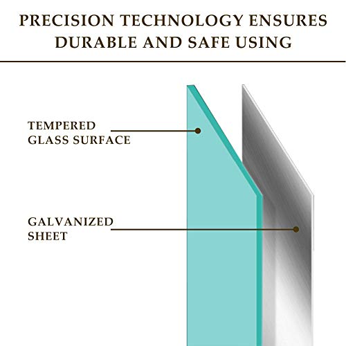 QUEENLINK Glas-Magnettafel – 90 x 60 cm, trocken abwischbar, mit Stiftablage, 3 Magnete, magnetisches Glas-Whiteboard für Notizen, Erinnerungen, Präsentationen, Ultra Weiß - 4