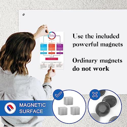 QUEENLINK Glas-Magnettafel – 90 x 60 cm, trocken abwischbar, mit Stiftablage, 3 Magnete, magnetisches Glas-Whiteboard für Notizen, Erinnerungen, Präsentationen, Ultra Weiß - 6