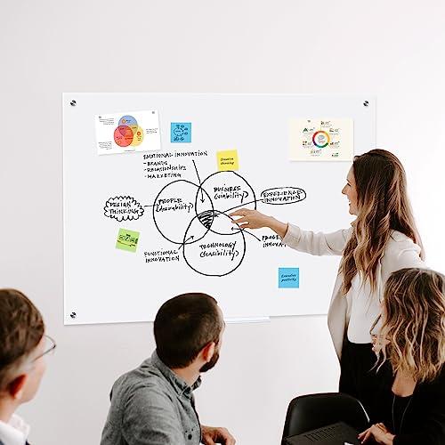 QUEENLINK Glas-Magnettafel – 90 x 60 cm, trocken abwischbar, mit Stiftablage, 3 Magnete, magnetisches Glas-Whiteboard für Notizen, Erinnerungen, Präsentationen, Ultra Weiß - 7