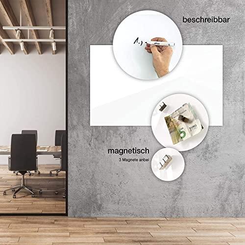 Glas-Whiteboard   Arte   Premiumweiß   Sicherheitsglas   Rahmenlos mit Schwebe-Effekt   Magnethaftend (120 x 180 cm) - 3