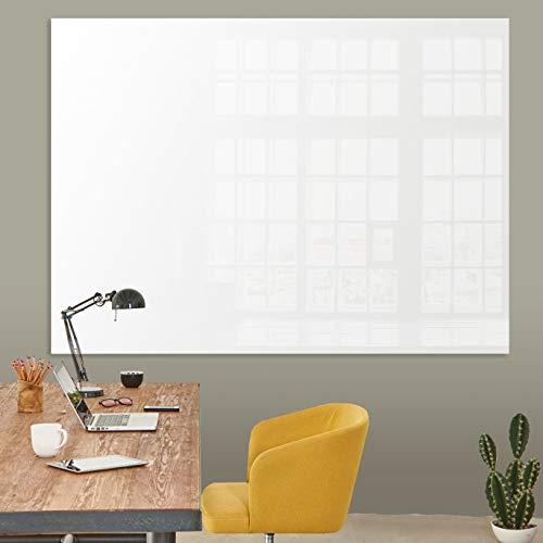 Glasmagnettafel in reinem Weiß | rahmenloses Magnetboard | Whiteboard aus TÜV-zertifiziertem Glas magnetisch & beschreibbar | einfache Montage mit Bohrschablone | 7 Größen (120x180 cm)