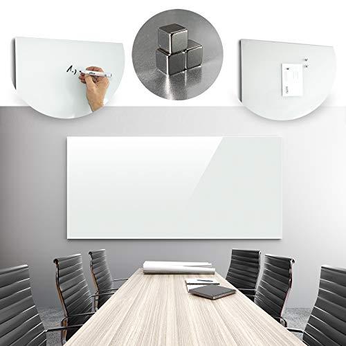Glasmagnettafel in reinem Weiß | rahmenloses Magnetboard | Whiteboard aus TÜV-zertifiziertem Glas magnetisch & beschreibbar | einfache Montage mit Bohrschablone | 7 Größen (120x180 cm) - 2