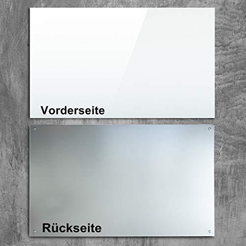 Glasmagnettafel in reinem Weiß | rahmenloses Magnetboard | Whiteboard aus TÜV-zertifiziertem Glas magnetisch & beschreibbar | einfache Montage mit Bohrschablone | 7 Größen (120x180 cm) - 3