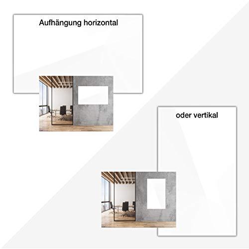 Glasmagnettafel in reinem Weiß | rahmenloses Magnetboard | Whiteboard aus TÜV-zertifiziertem Glas magnetisch & beschreibbar | einfache Montage mit Bohrschablone | 7 Größen (120x180 cm) - 4