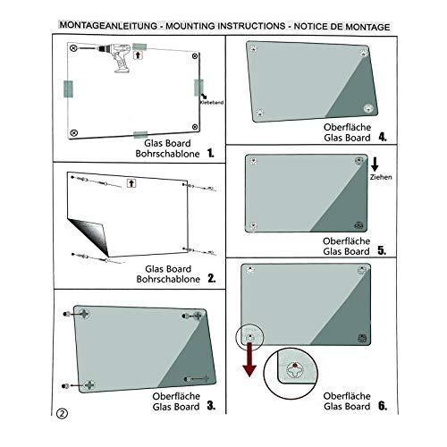Glasmagnettafel in reinem Weiß | rahmenloses Magnetboard | Whiteboard aus TÜV-zertifiziertem Glas magnetisch & beschreibbar | einfache Montage mit Bohrschablone | 7 Größen (120x180 cm) - 6