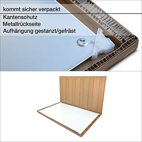 Glasmagnettafel in reinem Weiß | rahmenloses Magnetboard | Whiteboard aus TÜV-zertifiziertem Glas magnetisch & beschreibbar | einfache Montage mit Bohrschablone | 7 Größen (120x180 cm) - 7