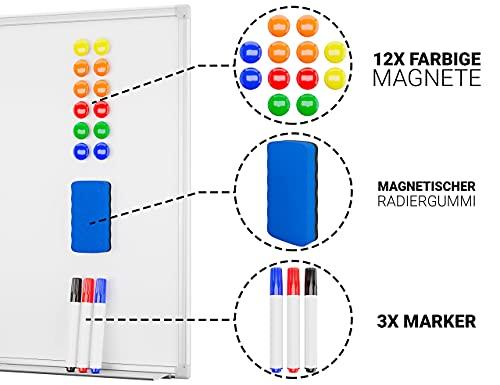 Alaskaprint Magnetisches Whiteboard Magnetwand magnettafel beschreibbar mit Alurahmen inklusive 3 Stiftablage, 12 Pinnwand Tafel und Schwamm 60 cm x 45 cm (B x H) - 3