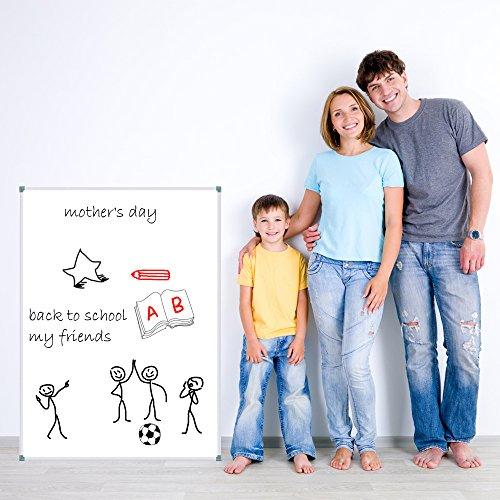 Lockways Whiteboard - Magnetisch Stabiler Tafel - praktische Weißtafel 90 x 120 cm, silbrig Metall Rahmen für Schule, Wohnung und Büro - 3