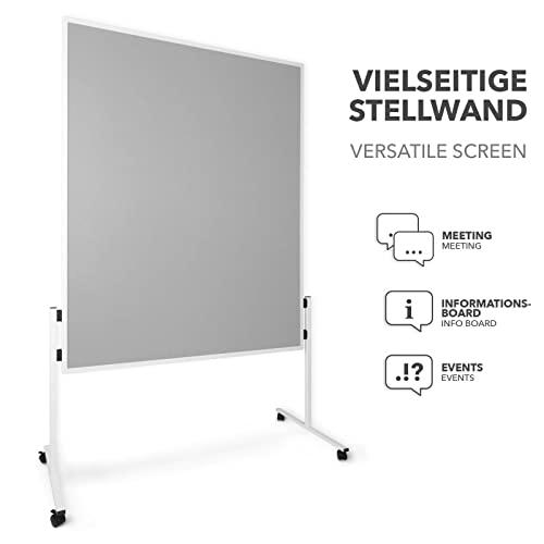 Moderationstafel Filz | doppelseitig | mit Rollen | Höhe: 185 cm | Farbe wählbar (grau) - 3