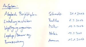 notitz-liste auf whiteboard